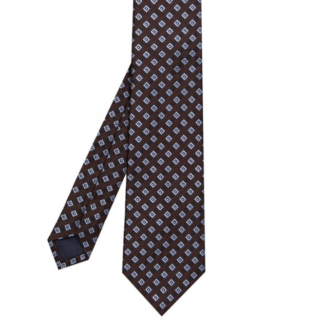 Andrew Scott Γραβάτα με Δίχρωμο Καρό Σχέδιο L15 Καφέ