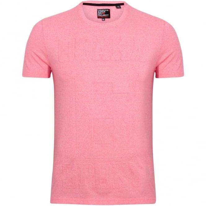 "Superdry T-Shirt Λαιμόκοψη Μονόχρωμη Μελανζέ με Ανάγλυφη Στάμπα ""Osaka 6"" Κανονική Γραμμή M10003FO Ροζ"