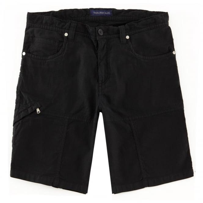 Trussardi Jeans Βερμούδα Cargo Μονόχρωμη με Ανάγλυφη Ρίγα Κλασική Γραμμή 526921 Μαύρο