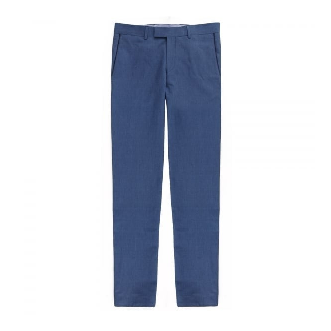 Tom Frank Παντελόνι Chinos Λινό με Δίχρωμη Λεπτομέρεια Στενή Γραμμή 51240 Μπλε