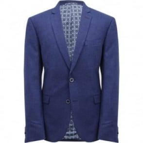 Σακάκι Μονόχρωμο Μελανζέ με Ανάγλυφο Μικροσχέδιο Στενή Γραμμή 3453703 S6143320 Μπλε