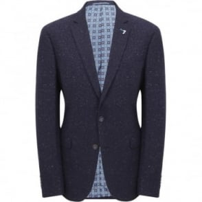 Σακάκι Μονόχρωμο με Δίχρωμο Μικροσχέδιο Στενή Γραμμή 3453704 SQ1433 Μπλε