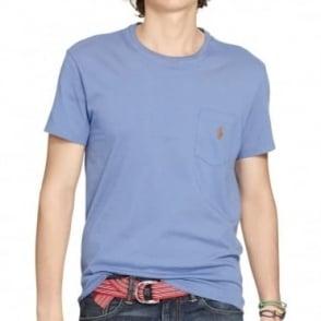 Big&Tall T-Shirt Λαιμόκοψη Μονόχρωμο με Τσέπη Φαρδιά Γραμμή 116 KBB31 C7OOZ Σιέλ