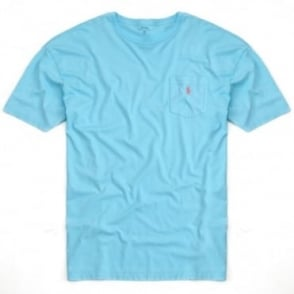 Big&Tall T-Shirt Λαιμόκοψη Μονόχρωμο με Τσέπη Φαρδιά Γραμμή 116 KBB31 C7OOZ Τυρκουάζ