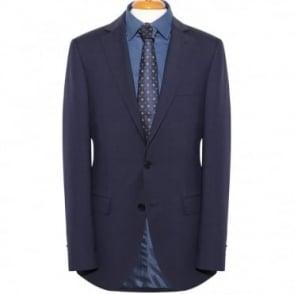 Κουστούμι Κλασικό Μάλλινο Μονόχρωμο με Ανάγλυφο Μικροσχέδιο Στενή Γραμμή 86302.11 Μπλε