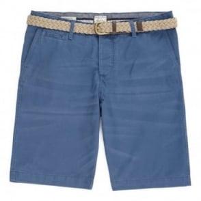 Βερμούδα Chinos Μονόχρωμη Πετροπλυμένη Κανονική Γραμμή 12117728 Μπλε