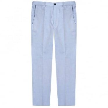 Παντελόνι Chinos Μελανζέ με Δίχρωμη Λεπτομέρεια Στενή Γραμμή Graham 50287664 Σιέλ