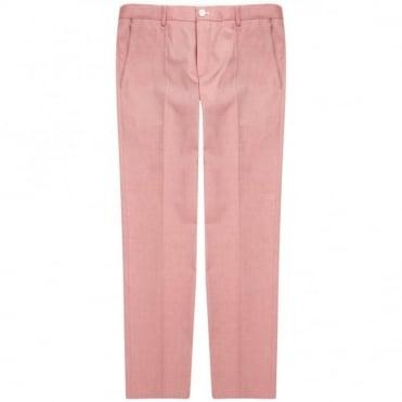 Παντελόνι Chinos Μελανζέ με Δίχρωμη Λεπτομέρεια Στενή Γραμμή Graham 50287664 Ροζ Σκούρο