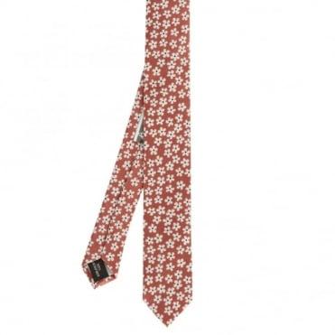 Γραβάτα Λεπτή με Φλωράλ Σχέδια L15/2 Κόκκινο