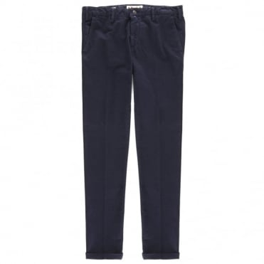 Παντελόνι Chinos Μονόχρωμο με Επένδυση Στενή Γραμμή T9044 2620 Μπλε