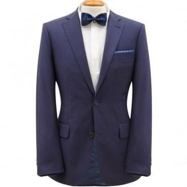 Κουστούμι Κλασικό Μάλλινο Μονόχρωμο Μελανζέ Στενή Γραμμή 586861 Μπλε