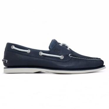 Παπούτσι Ιστιοπλοϊκό Δερμάτινο με Διχρωμίες Boat 2-Eye A1FHU019 Μπλε