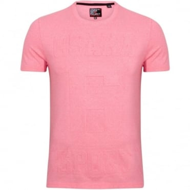 "T-Shirt Λαιμόκοψη Μονόχρωμη Μελανζέ με Ανάγλυφη Στάμπα ""Osaka 6"" Κανονική Γραμμή M10003FO Ροζ"