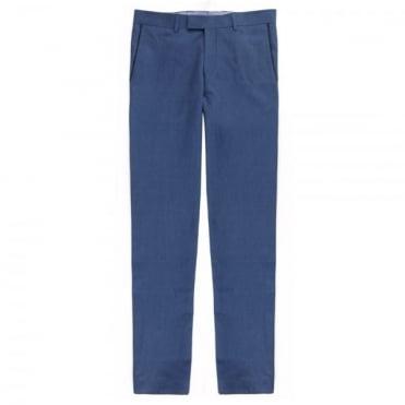 Παντελόνι Chinos Λινό με Δίχρωμη Λεπτομέρεια Στενή Γραμμή 51240 Μπλε