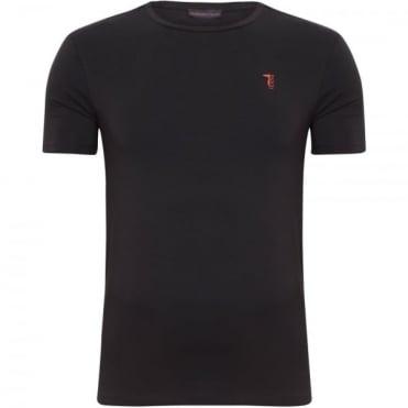 T-shirt Μπλούζα Λαιμόκοψη Μονόχρωμη Στενή γραμμή 52T07  Μαύρο