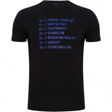 T-Shirt Λαιμόκοψη με Στάμπα Στενή Γραμμή 6Y6T136J1FZ Μαύρο