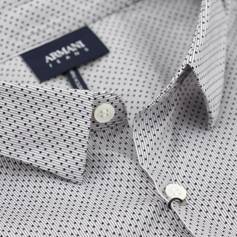 ed3f70f52ccf Armani Jeans Πουκάμισο Μικροσχέδιο Στενή Γραμμή Γκρι 6Y6C09 6NMYZ