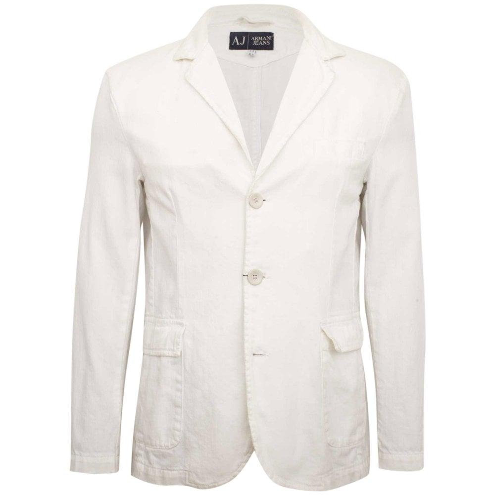 f6f223b31392 Armani Jeans Σακάκι Στενή Γραμμή Λευκό D6N01BV-10