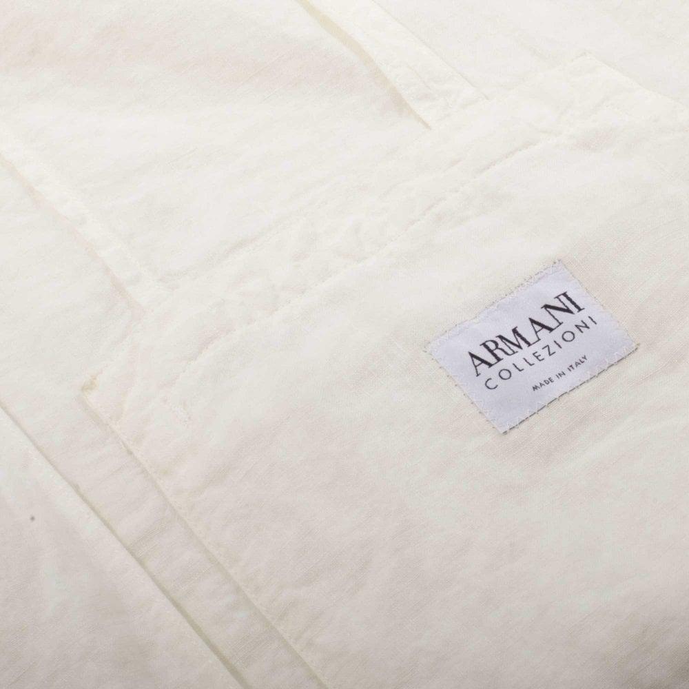 8fa80b92dbb9 Armani Collezioni Σακάκι Λινό Στενή Γραμμή Λευκό HG3655-5051